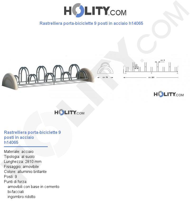 Rastrelliera porta-biciclette 9 posti in acciaio h14065