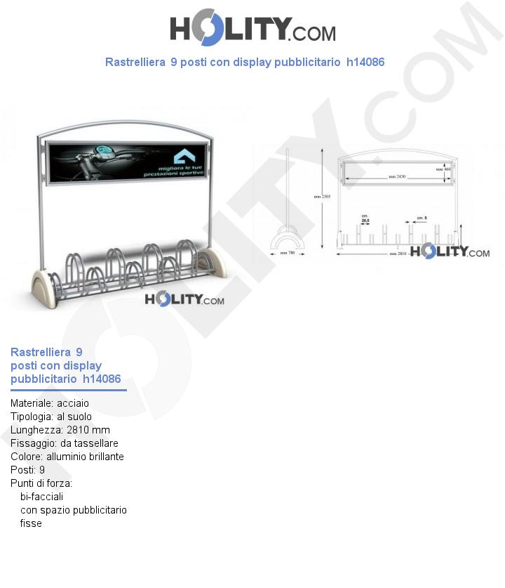 Rastrelliera  9 posti con display pubblicitario  h14086