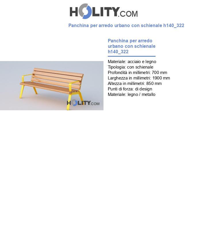 Panchina per arredo urbano con schienale h140_322