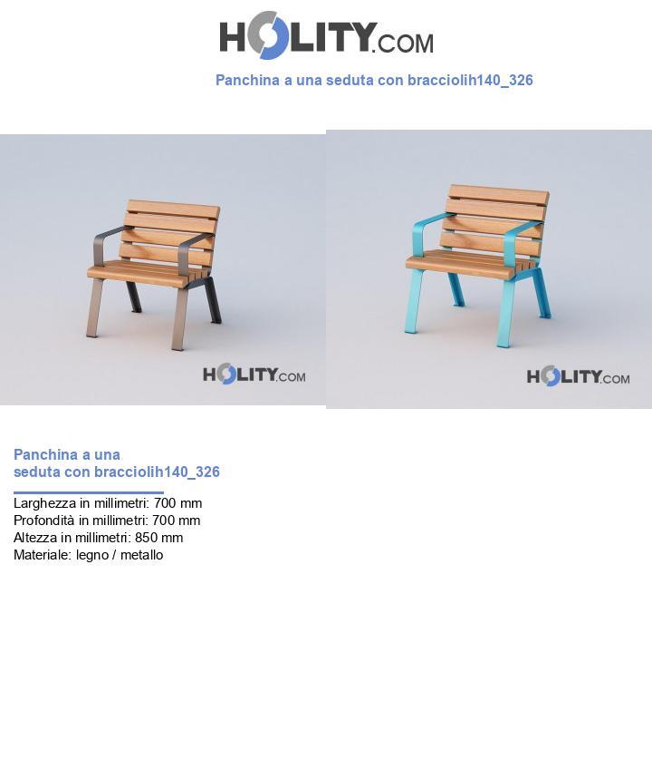 Panchina a una seduta con bracciolih140_326