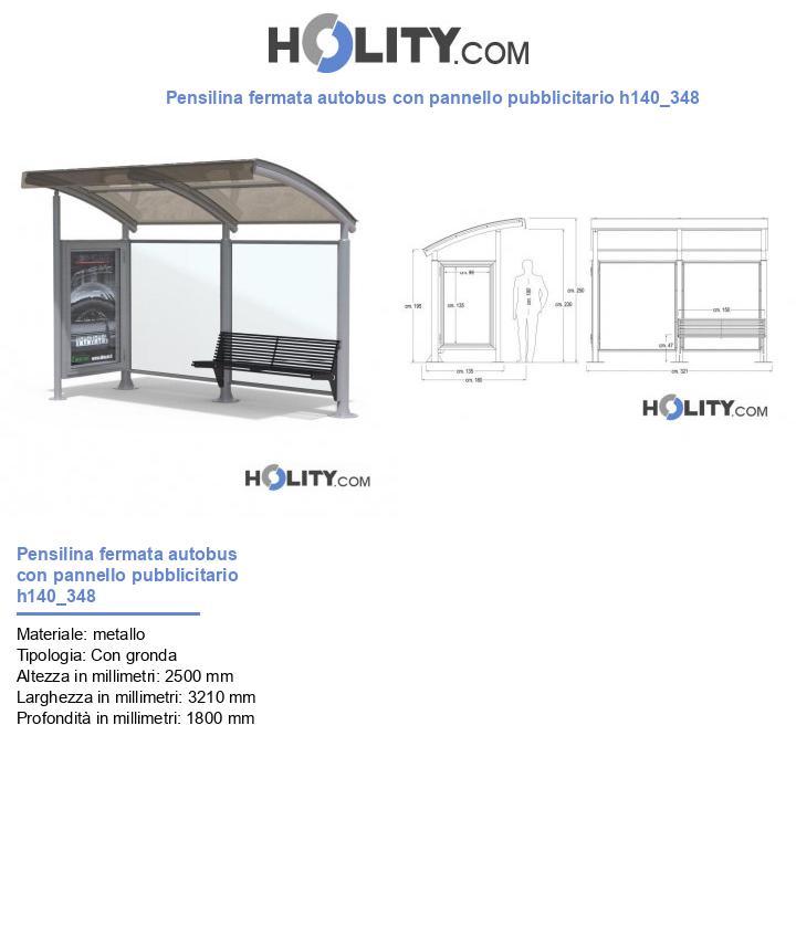 Pensilina fermata autobus con pannello pubblicitario h140_348