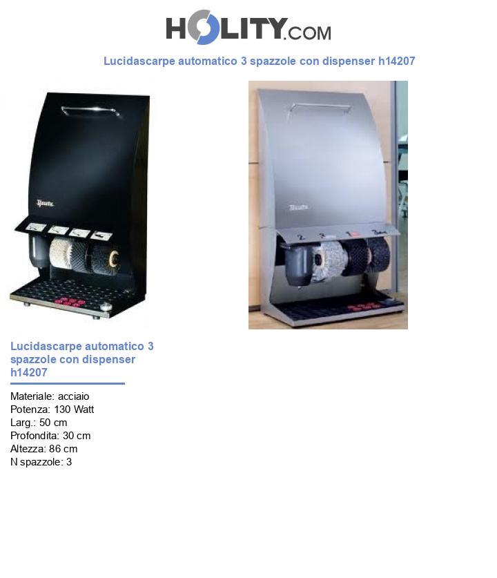 Lucidascarpe automatico 3 spazzole con dispenser h14207