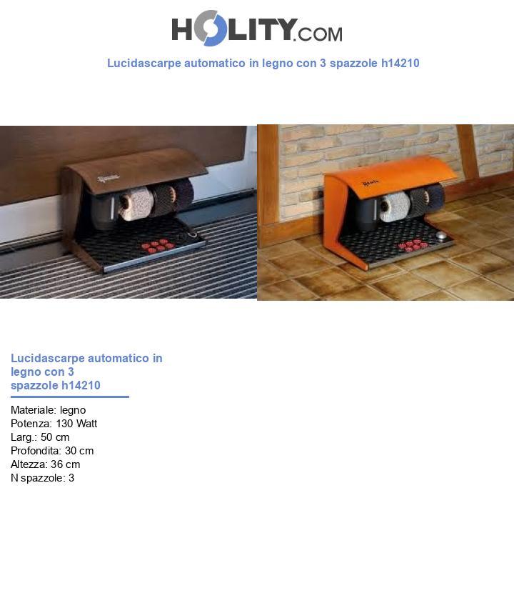 Lucidascarpe automatico in legno con 3 spazzole h14210