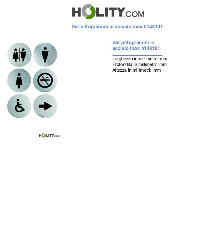 Set pittogrammi in acciaio inox h148101