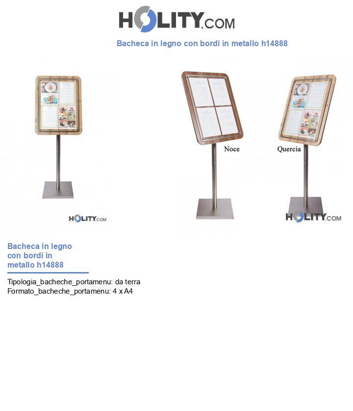 Bacheca in legno con bordi in metallo h14888