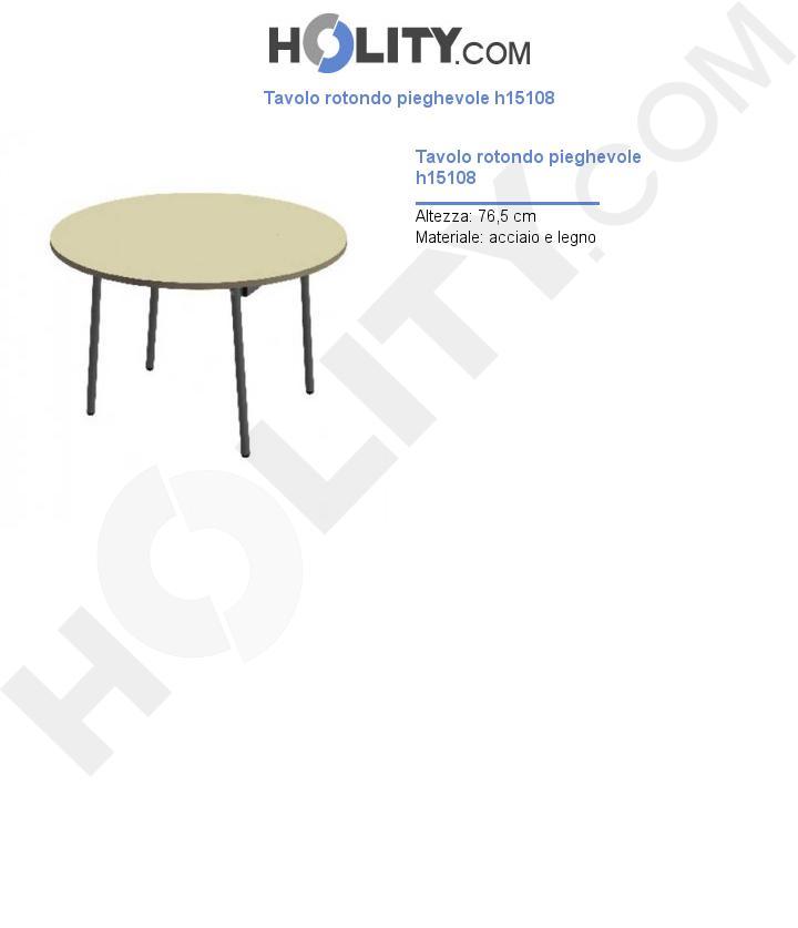 Tavolo rotondo pieghevole h15108