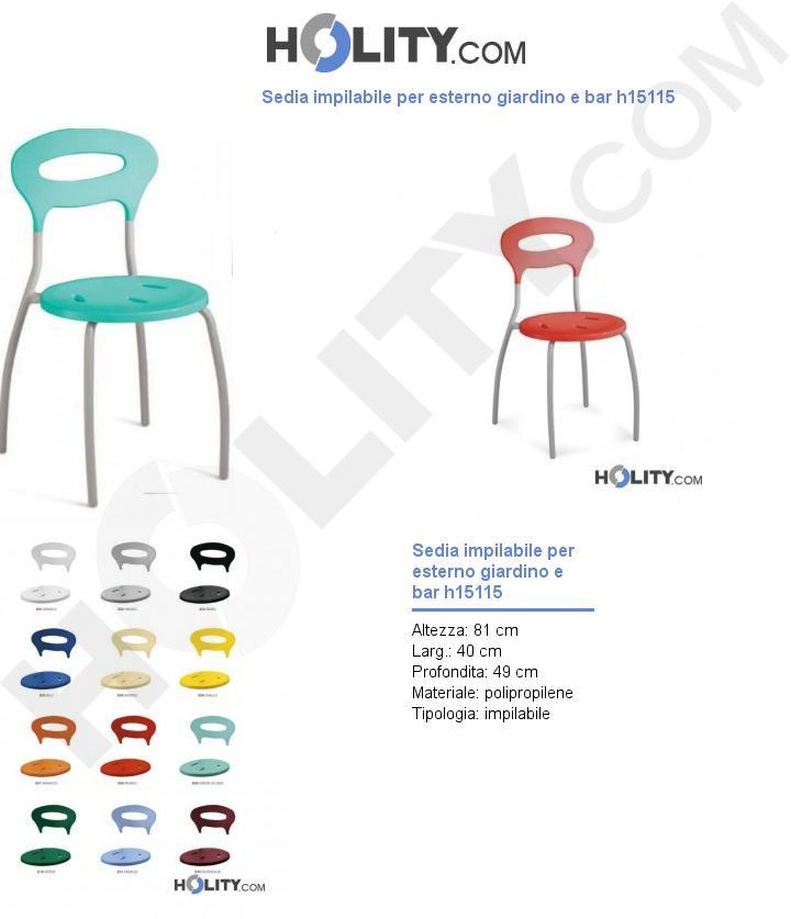 Sedia impilabile per esterno giardino e bar h15115