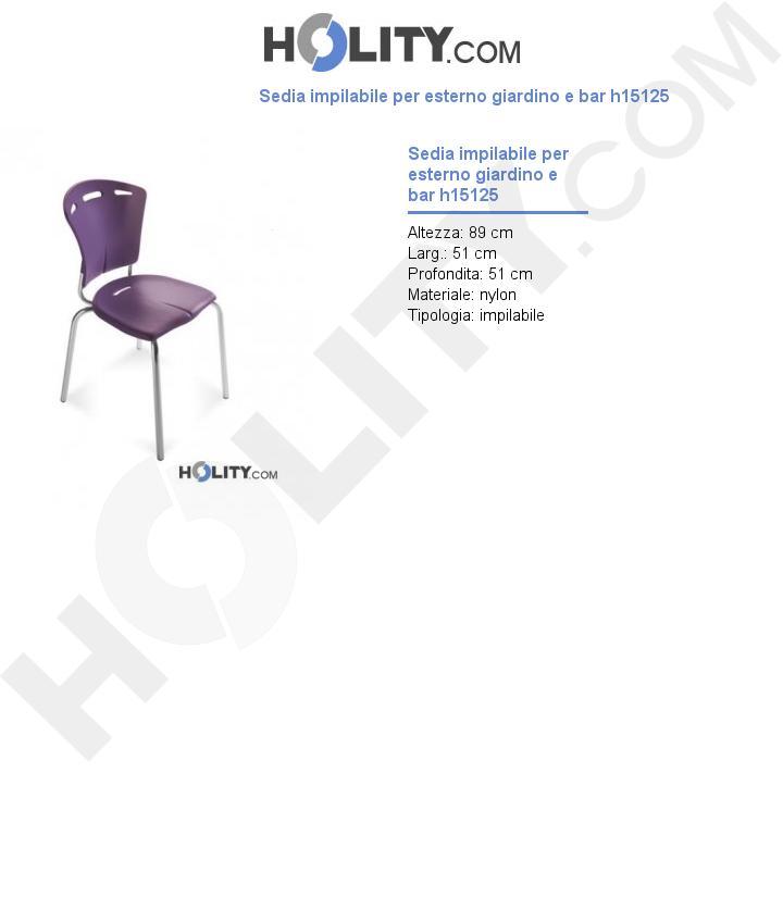 Sedia impilabile per esterno giardino e bar h15125