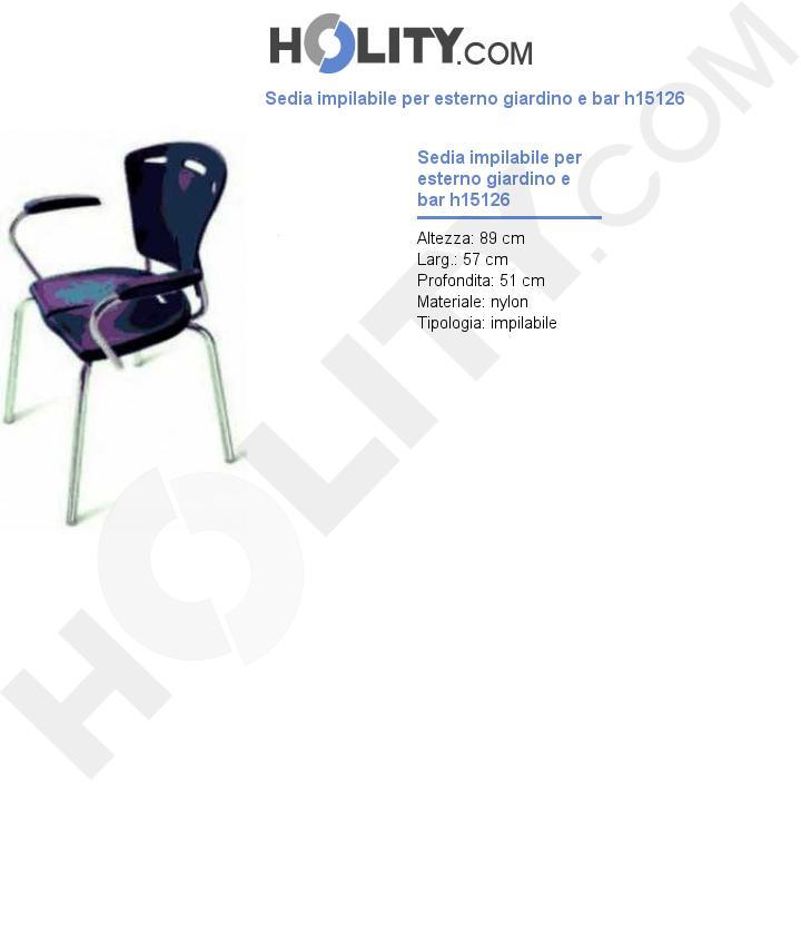 Sedia impilabile per esterno giardino e bar h15126