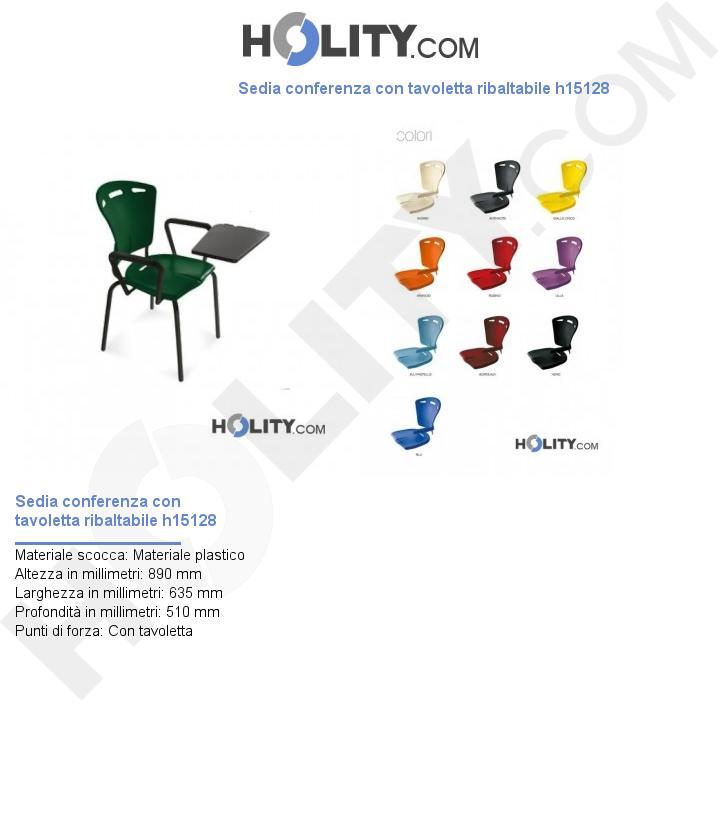 Sedia conferenza con tavoletta ribaltabile h15128