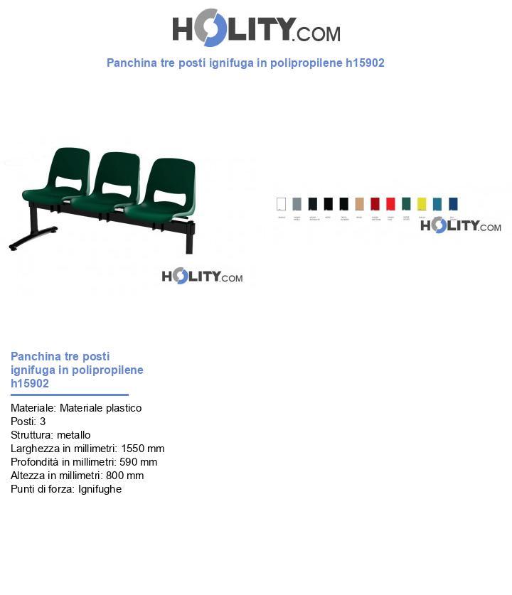 Panchina tre posti ignifuga in polipropilene h15902