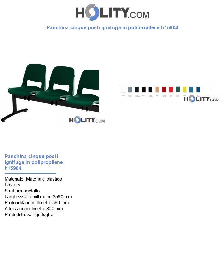 Panchina cinque posti ignifuga in polipropilene h15904