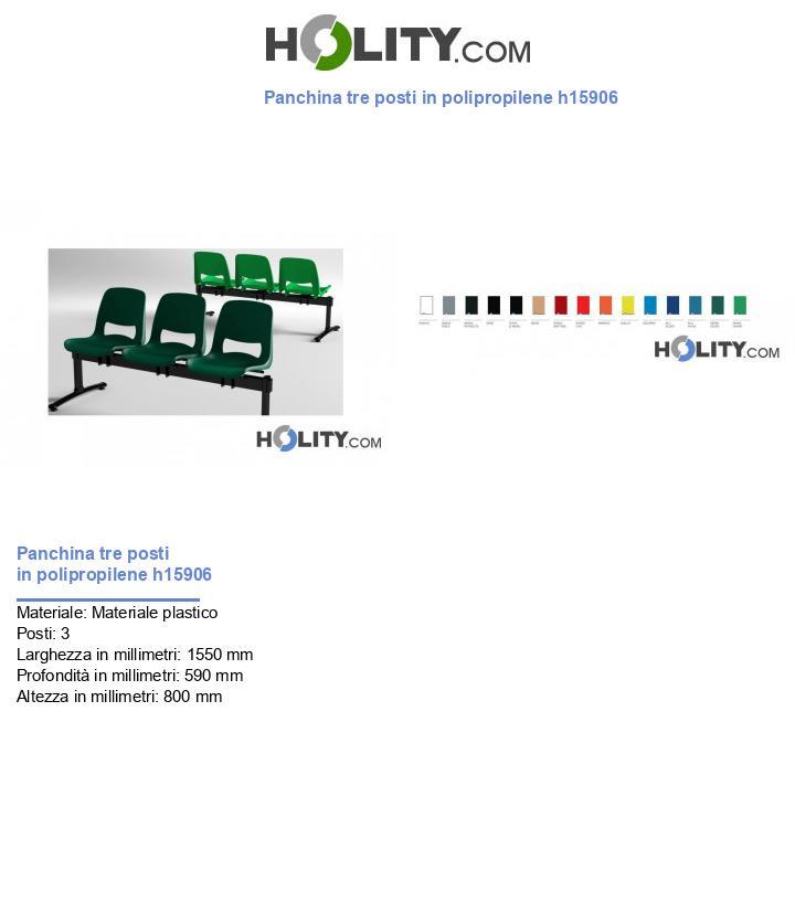 Panchina tre posti in polipropilene h15906