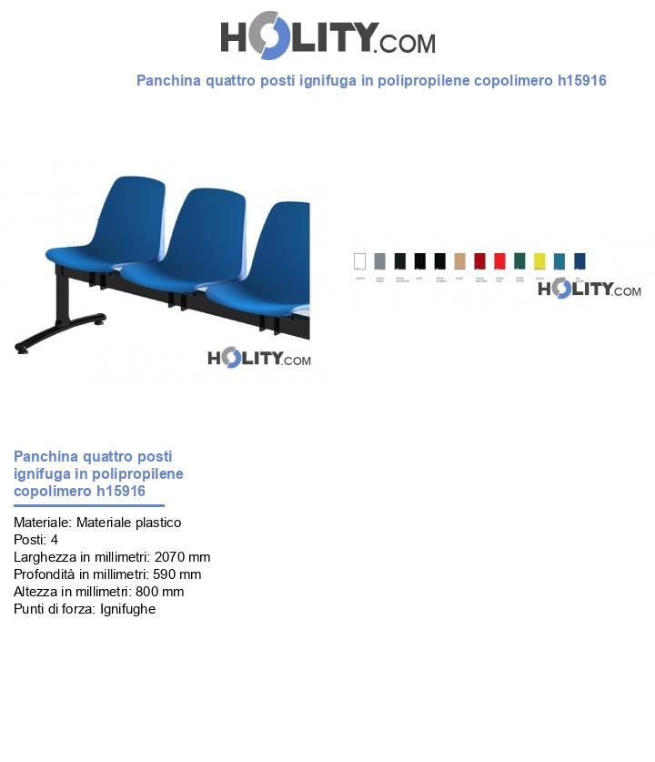 Panchina quattro posti ignifuga in polipropilene copolimero h15916