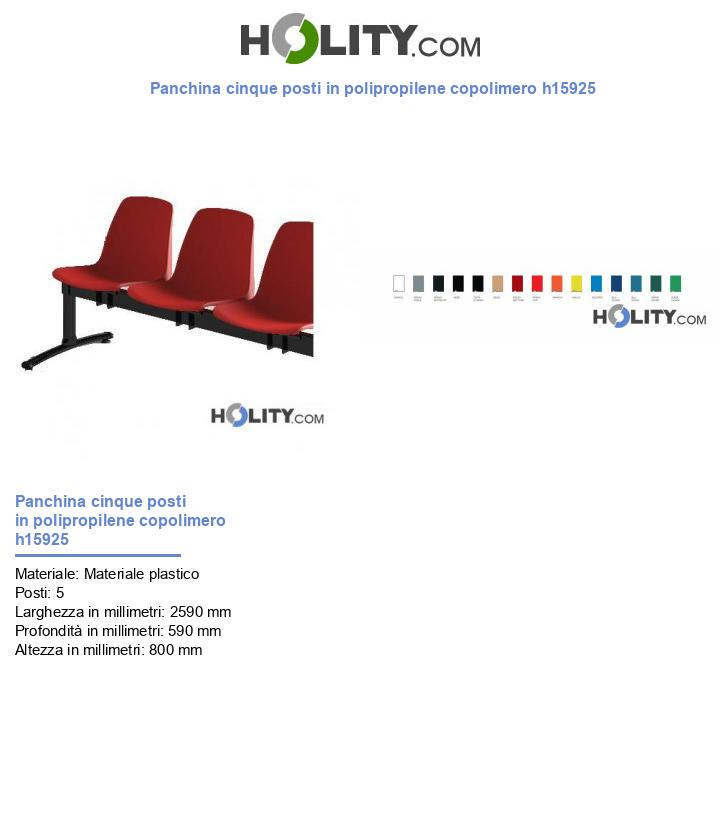 Panchina cinque posti in polipropilene copolimero h15925