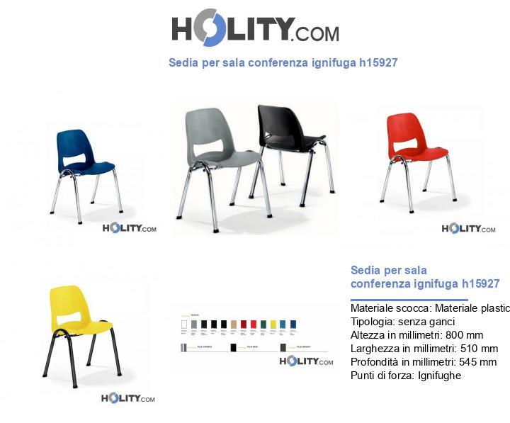 Sedia per sala conferenza ignifuga h15927