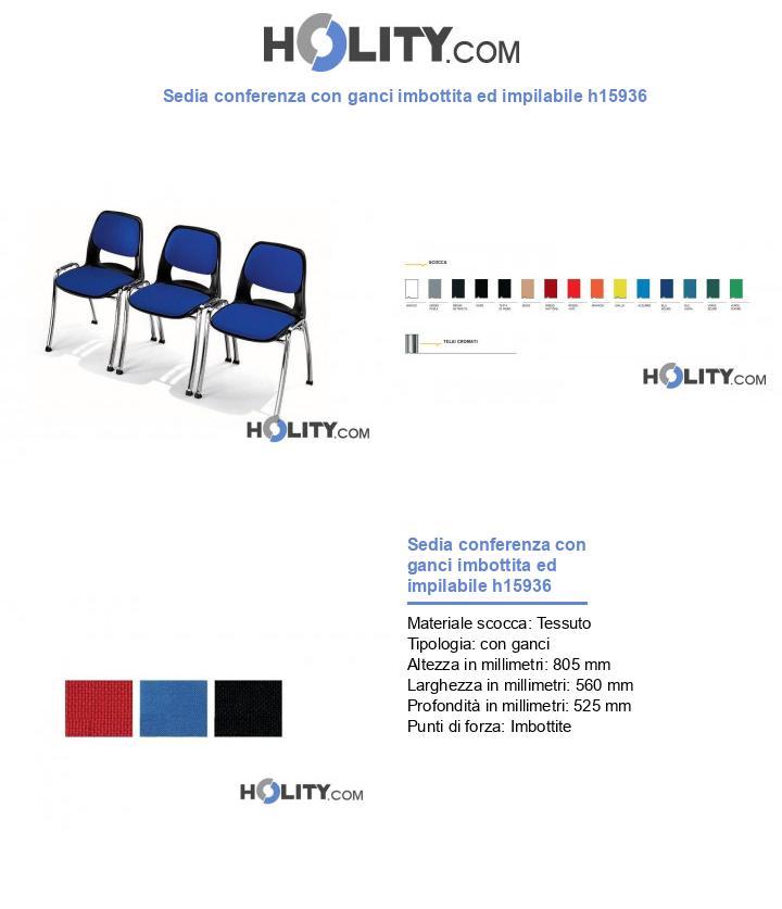 Sedia conferenza con ganci imbottita ed impilabile h15936
