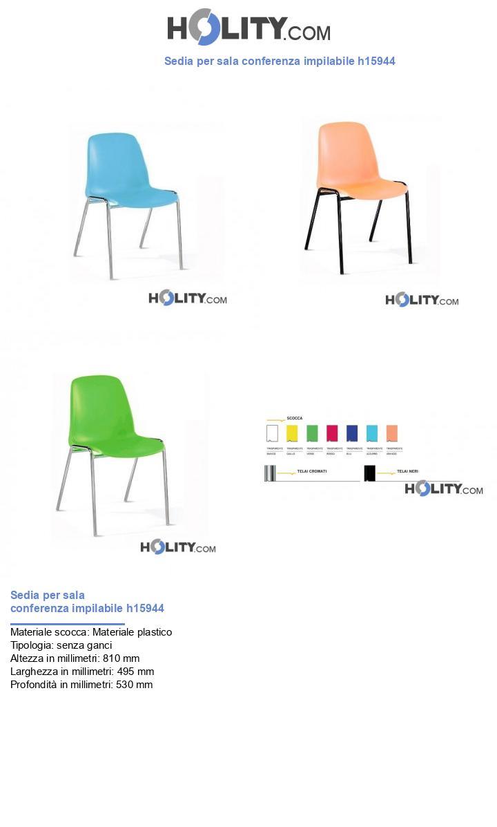 Sedia per sala conferenza impilabile h15944