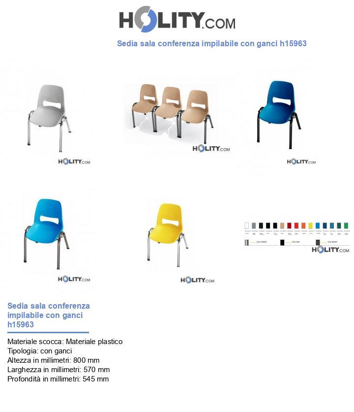 Sedia sala conferenza impilabile con ganci h15963