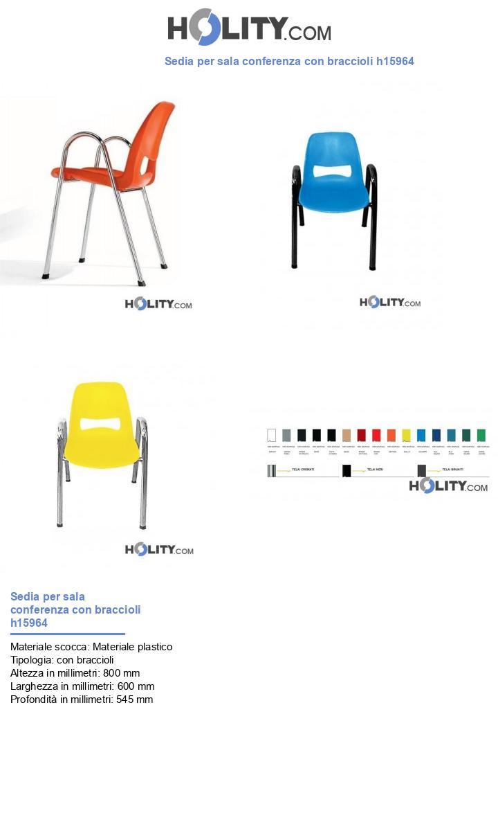 Sedia per sala conferenza con braccioli h15964