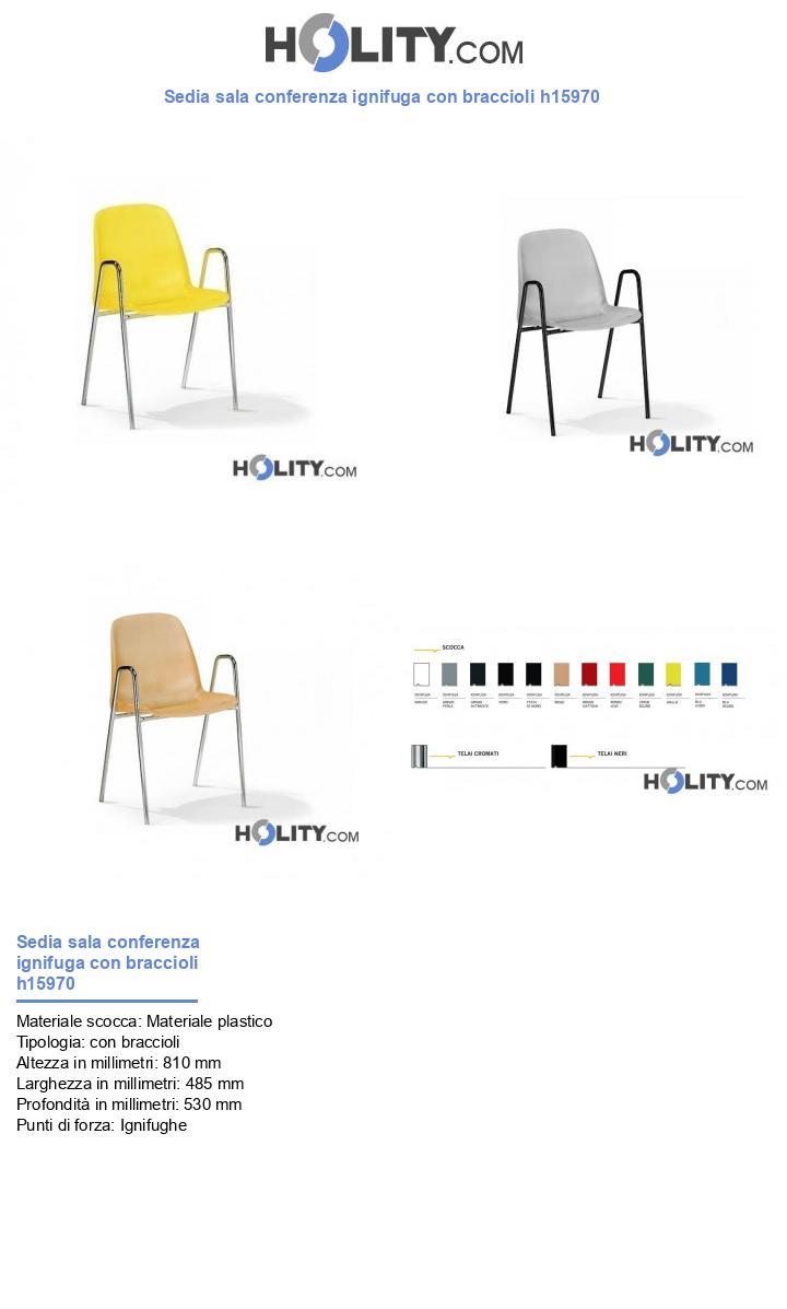 Sedia sala conferenza ignifuga con braccioli h15970
