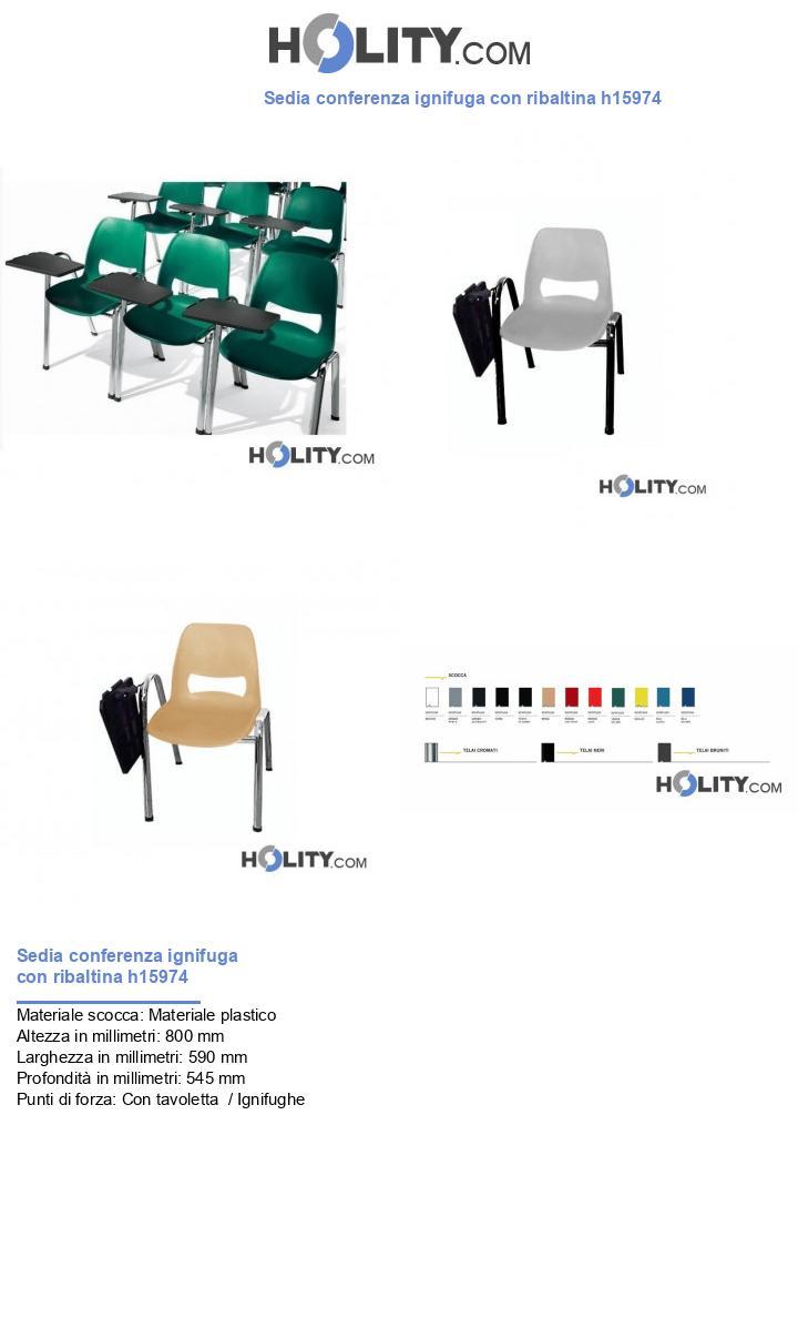 Sedia conferenza ignifuga con ribaltina h15974