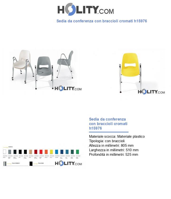 Sedia da conferenza con braccioli cromati h15976