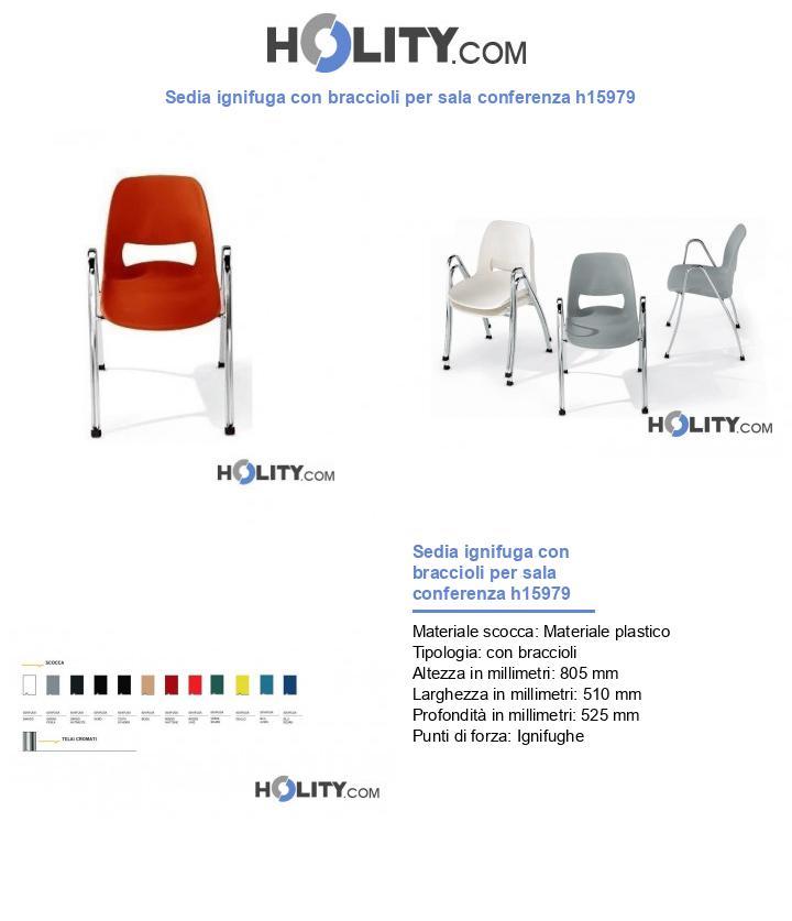 Sedia ignifuga con braccioli per sala conferenza h15979