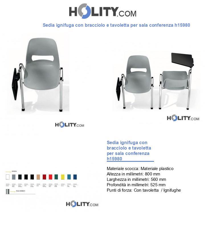 Sedia ignifuga con bracciolo e tavoletta per sala conferenza h15980