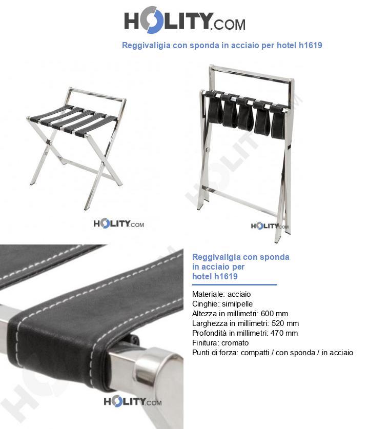 Reggivaligia con sponda in acciaio per hotel h1619