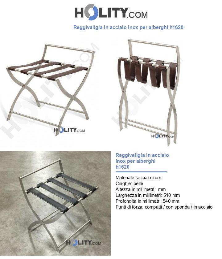 Reggivaligia in acciaio inox per alberghi h1620