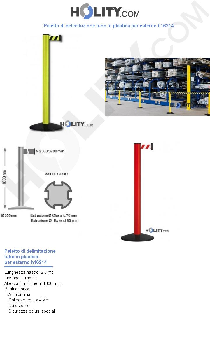 Paletto di delimitazione tubo in plastica per esterno h16214