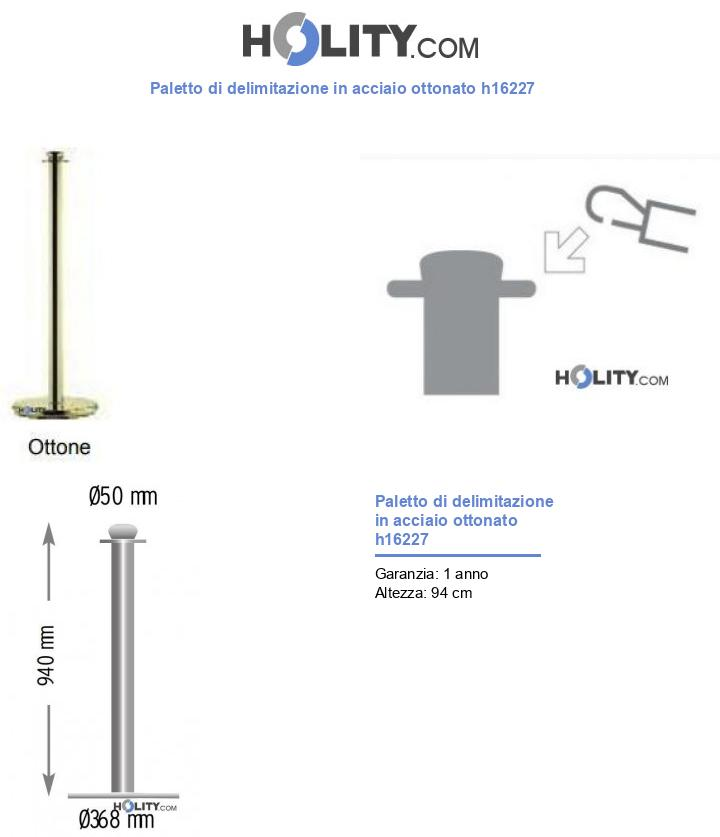 Paletto di delimitazione in acciaio ottonato h16227
