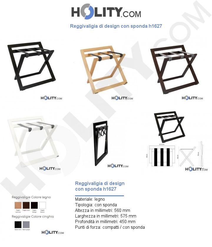 Reggivaligia di design con sponda h1627