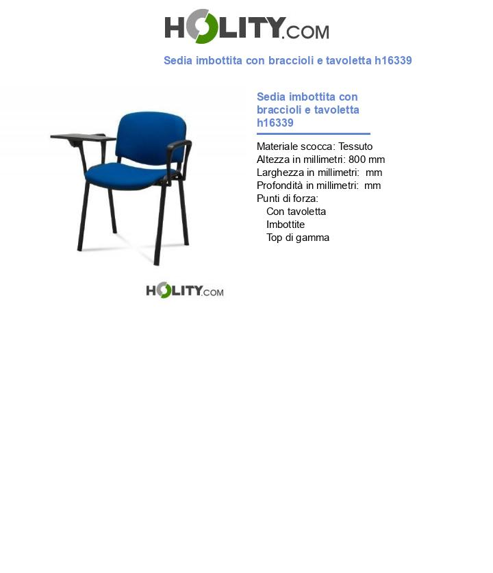 Sedia imbottita con braccioli e tavoletta h16339