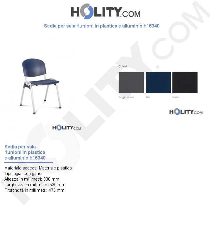 Sedia per sala riunioni in plastica e alluminio h16340