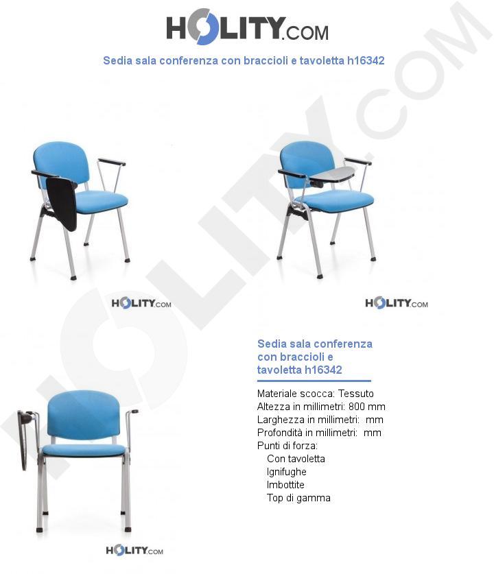 Sedia sala conferenza con braccioli e tavoletta h16342