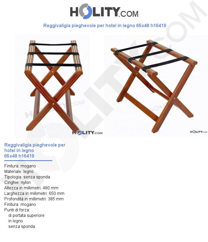 Reggivaligia pieghevole per hotel in legno 65x48 h16419