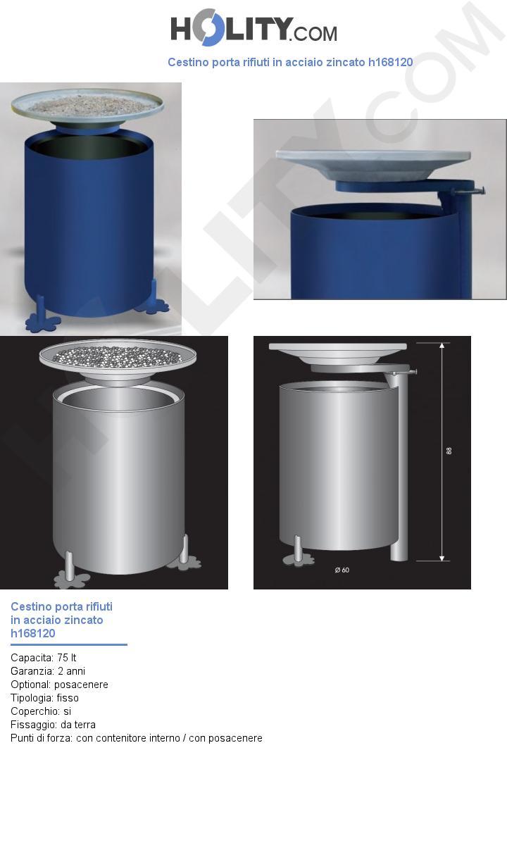 Cestino porta rifiuti in acciaio zincato h168120