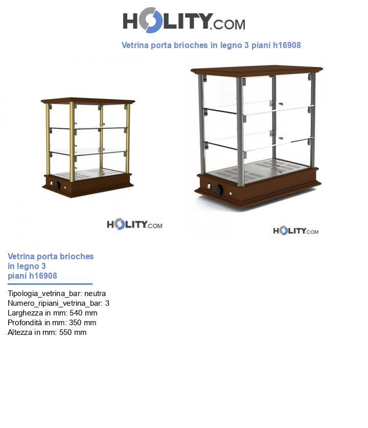 Vetrina porta brioches in legno 3 piani h16908