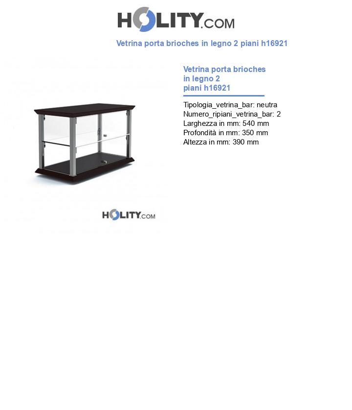 Vetrina porta brioches in legno 2 piani h16921