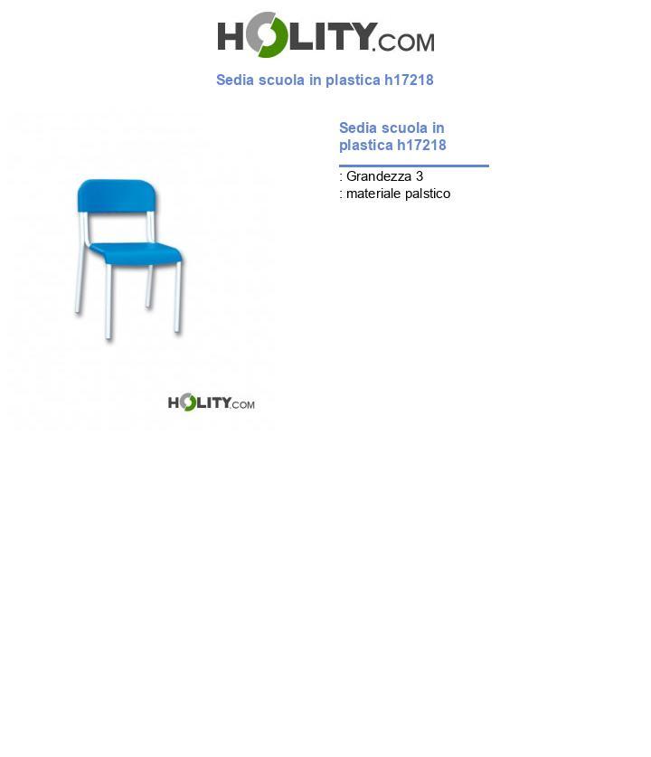 Sedia scuola in plastica h17218