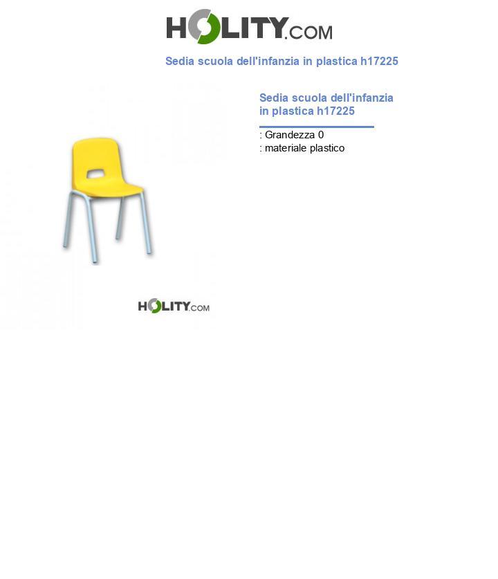 Sedia scuola dell'infanzia in plastica h17225