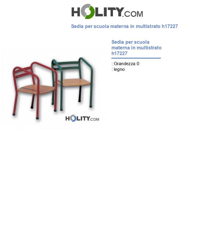 Sedia per scuola materna in multistrato h17227