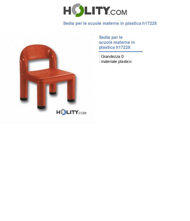Sedia per le scuole materne in plastica h17228