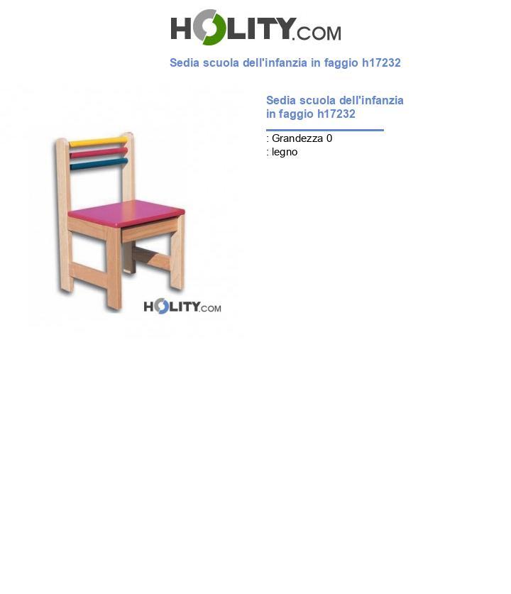 Sedia scuola dell'infanzia in faggio h17232