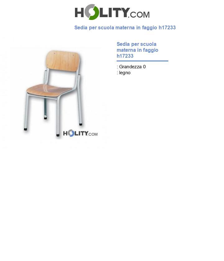 Sedia per scuola materna in faggio h17233