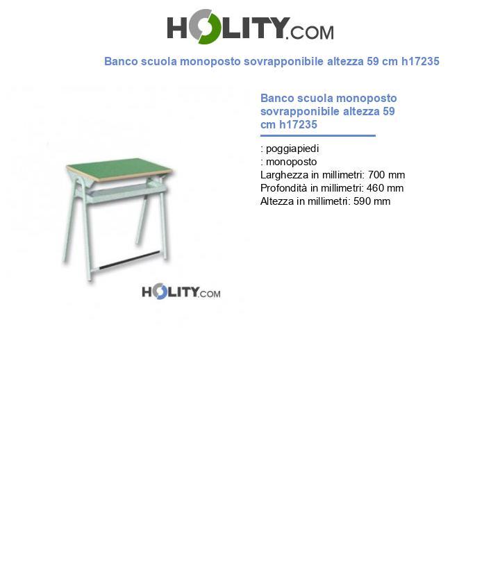 Banco scuola monoposto sovrapponibile h17235