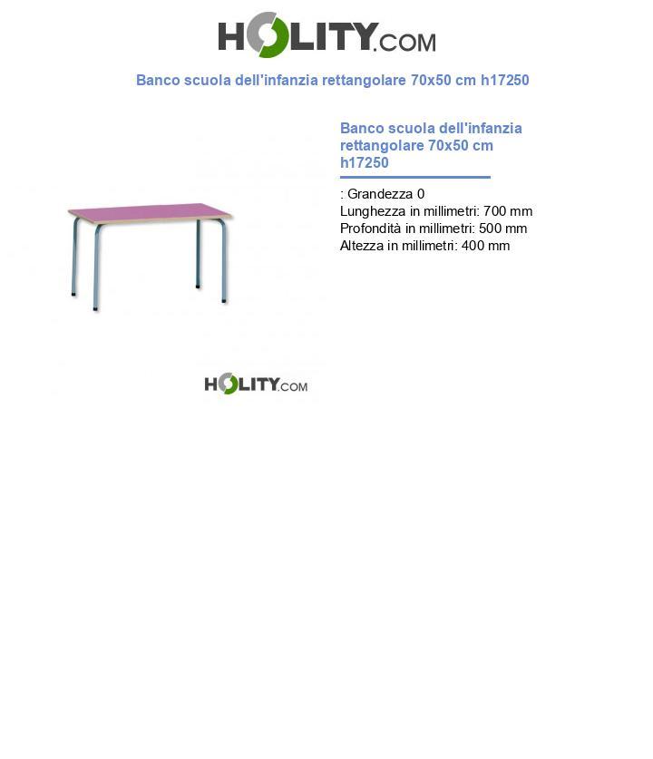 Banco scuola dell'infanzia rettangolare 70x50 cm h17250
