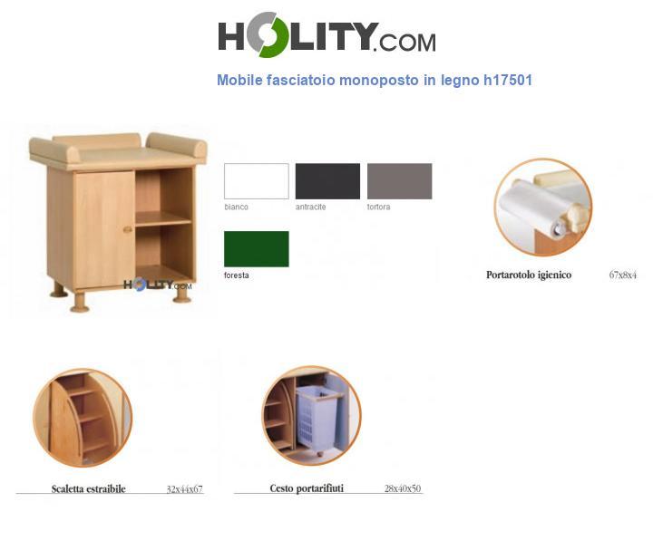 Mobile fasciatoio monoposto in legno h17501